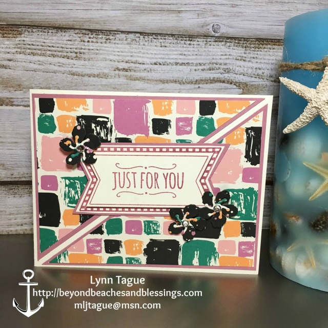 StampinUp CAS Birthday Card made with Playful Palette Designer Series Paper (DSP), Botanical Builder Framelits, You're So Sweet stamp set, and Mini Treat Bag Thinlits, designed by demo Lynn Tague. See more cards and gifts ideas at BeyondBeachesandBlessings.com #BeyondBeachesandBlessings