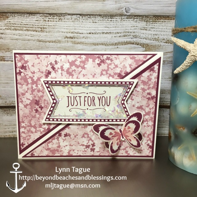 StampinUp CAS All Occassion Card made with Blooms & Bliss Designer Series Paper (DSP), Butterflies Thinlits, andYou're So Sweet and Rose Wonder stamp sets , designed by demo Lynn Tague. See more cards and gifts ideas at BeyondBeachesandBlessings.com #BeyondBeachesandBlessings #PalsBlogHop