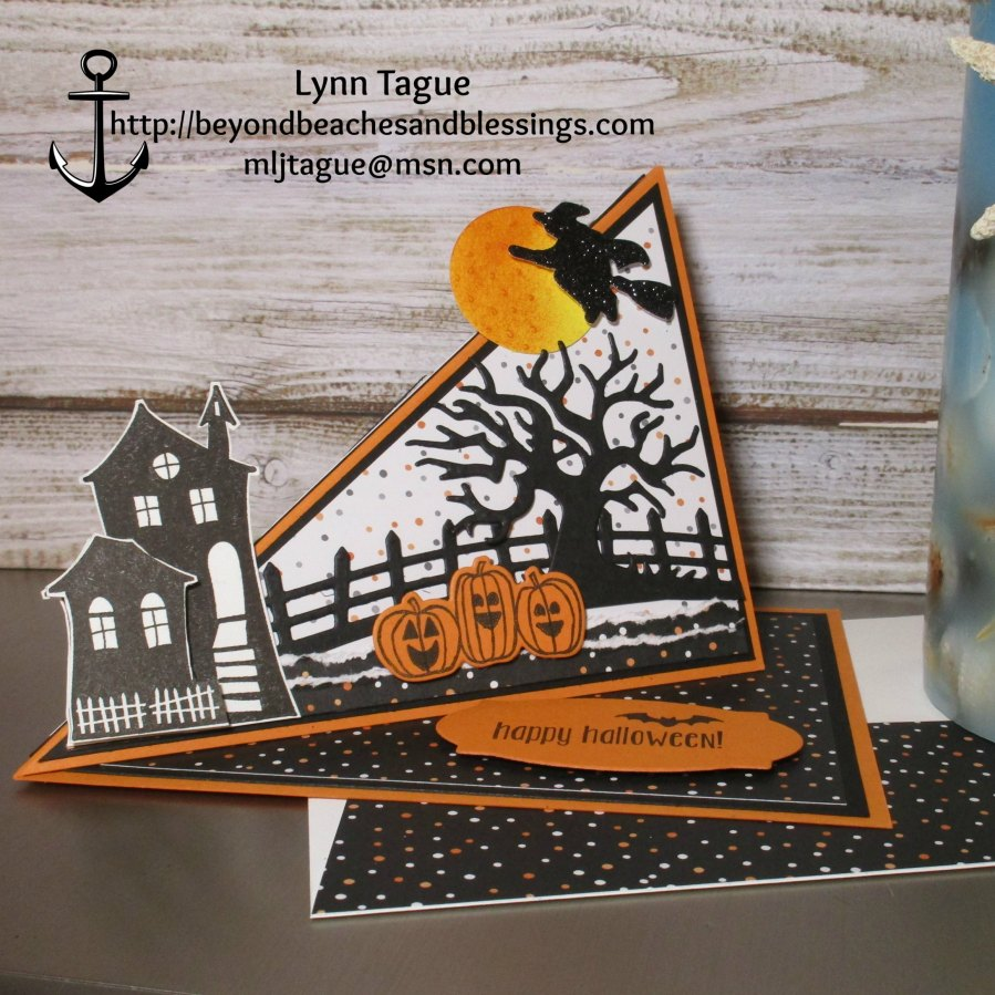 StampinUp Fun Fold Easel Halloween Card made with Halloween Nights Designer Series Paper (DSP), Halloween Scares Stamp Set, Spooky Fun Stamp Set, and Halloween Scares Edgelits Dies, designed by demo Lynn Tague. See more cards and gifts ideas at BeyondBeachesandBlessings.com #BeyondBeachesandBlessings