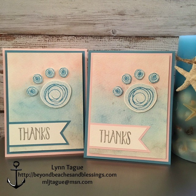 StampinUp CAS Thank You Card made with Swirly Bird stamp set and Swirly Scribbles thinlits, designed by demo Lynn Tague. See more cards and gifts ideas at BeyondBeachesandBlessings.com #BeyondBeachesandBlessings #PPA311