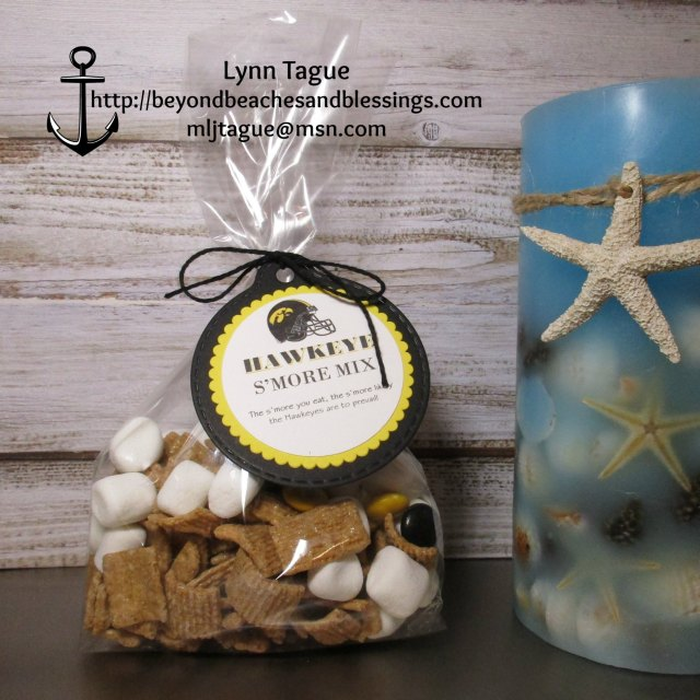 "StampinUp 3D Favor made with 2"" Punch, Layering Circles Die, and Dimensionals, designed by demo Lynn Tague. See more cards and gifts ideas at BeyondBeachesandBlessings.com #BeyondBeachesandBlessings #UniversityofIowa #Hawkeyes #Football"
