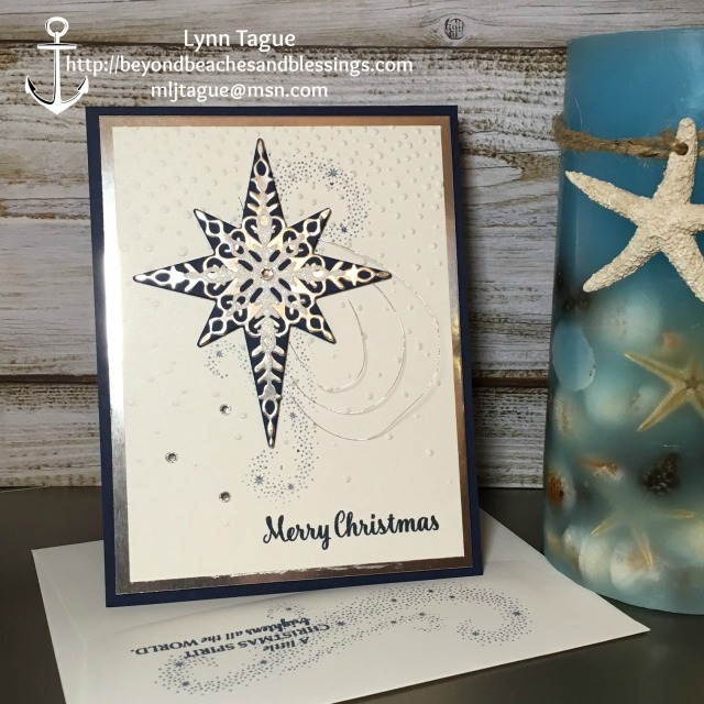 StampinUp CAS Christmas Card made with Star of Light stamp set, Starlight Thinlit Dies, Softly Falling TIEF and Silver Foil Sheets, designed by demo Lynn Tague. See more cards and gift ideas at BeyondBeachesandBlessings.com #BeyondBeachesandBlessings