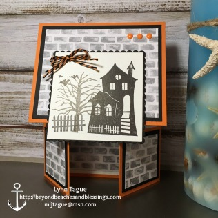 StampinUp Double Dutch Fold Halloween Card made with Halloween Scares and Spooky Fun stamp sets, Layering Squares Framelits, Halloween Night Specialty DSP, designed by demo Lynn Tague. See more cards and gift ideas at BeyondBeachesandBlessings.com #BeyondBeachesandBlessings
