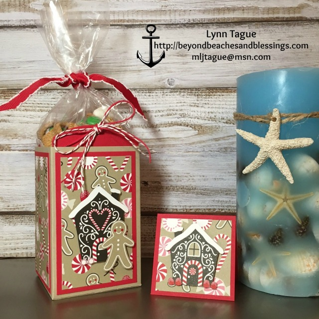 StampinUp Christmas 3D Snack and Gift Card Holder made with Candy Cane Lane DSP, Candy Cane Christmas stamp set, Stitched Shape Framelits, designed by demo Lynn Tague. See more cards and gift ideas at BeyondBeachesandBlessings.com #BeyondBeachesandBlessings