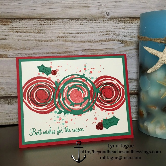 StampinUp Christmas Card made with Swirly Bird and Holly Berry Happiness stamp sets, Swirly Scribbles Thinlits, designed by demo Lynn Tague. See more cards and gift ideas at BeyondBeachesandBlessings.com #BeyondBeachesandBlessings