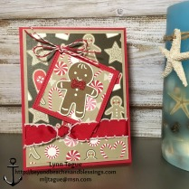 StampinUp CAS Christmas Card Holder made with Candy Cane Lane DSP, Cookie Cutter Christmas stamp set, Stitched Shape Framelits, designed by demo Lynn Tague. See more cards and gift ideas at BeyondBeachesandBlessings.com #BeyondBeachesandBlessings