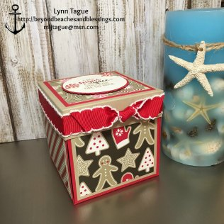 StampinUp, 3D, Explosion Box, Gift Card Holder, made with Candy Cane Lane DSP, Suite Seasons stamp set, Cookie Cutter Christmas stamp set, Stitched Shape Framelits, designed by demo Lynn Tague. See more cards and gift ideas at BeyondBeachesandBlessings.com #BeyondBeachesandBlessings