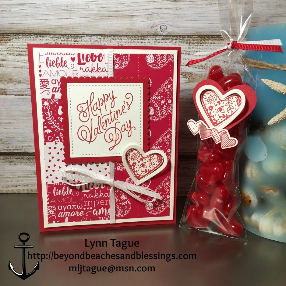 Stampin Up, Valentine Card, Cinnamon Hearts Treat Bag, Sealed With Love Bundle, Layering Circles Framelits, Layering Squares Framelits, Stitched Shapes Framelits, designed by Demo Lynn Tague, See more cards and gifts ideas at BeyondBeachesandBlessings.com #BeyondBeachesandBlessings