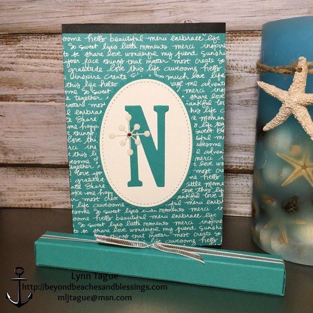 StampinUp, CAS, Note Pad with Pen, made with Bermuda Bay Designer Series Paper DSP, Stitched Framelits, Layering Oval Framelits, Large Letters Framelits, designed by demo Lynn Tague. See more cards and gift ideas at BeyondBeachesandBlessings.com #BeyondBeachesandBlessings