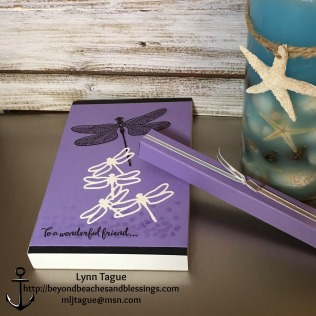 StampinUp, CAS, Note Pad with Pen, made with Dragonfly Dreams stamp set, Detailed Dragonfly Thinlits Dies, Dazzling Diamonds Glimmer Paper, designed by demo Lynn Tague. See more cards and gift ideas at BeyondBeachesandBlessings.com #BeyondBeachesandBlessings