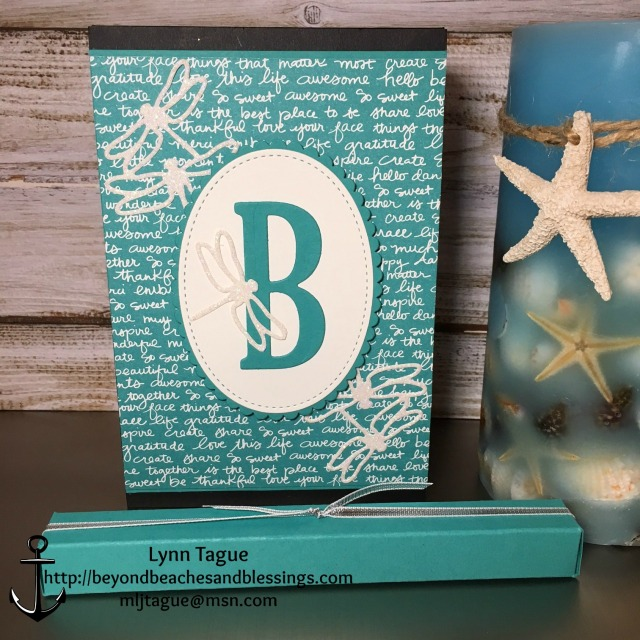 StampinUp, CAS, Note Pad with Pen, made with Detailed Dragonfly Thinlits Dies, Bermuda Bay Designer Series Paper DSP, Stitched Framelits, Layering Oval Framelits, Large Letters Framelits, designed by demo Lynn Tague. See more cards and gift ideas at BeyondBeachesandBlessings.com #BeyondBeachesandBlessings