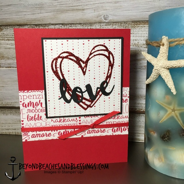 Stampin Up, CAS, Valentine Card, Sunshine Wishes Thinlits, Sending Love Designer Series Paper Stack, designed by Demo Lynn Tague, See more cards and gifts ideas at BeyondBeachesandBlessings.com #BeyondBeachesandBlessings #GDP072