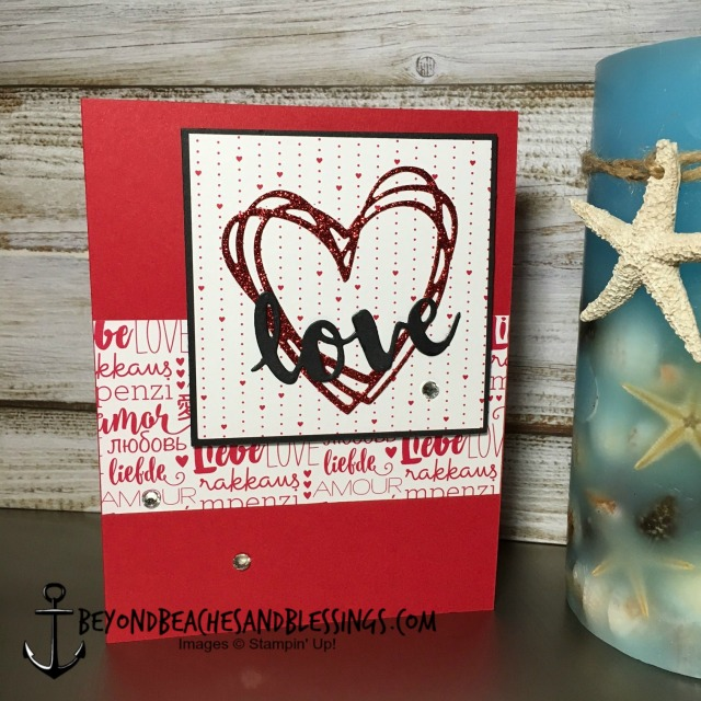 Stampin Up, CAS, Valentine Card, Sunshine Wishes Thinlits, Sending Love Designer Series Paper Stack, designed by Demo Lynn Tague, See more cards and gifts ideas at BeyondBeachesandBlessings.com #BeyondBeachesandBlessings
