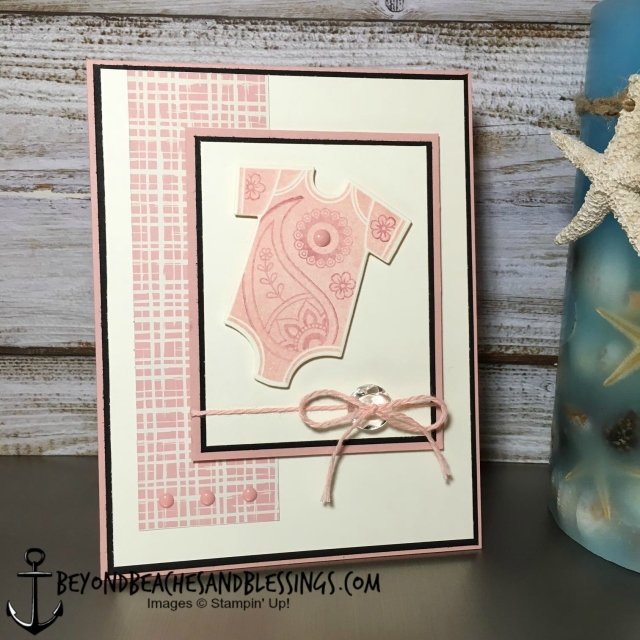 Stampin Up, CAS, Baby's First Birthday Card, Something For Baby Stamp Set, Baby's FIrst Framelits Dies, Playful Palette Designer Series Paper Stack, designed by Demo Lynn Tague, See more cards and gifts ideas at BeyondBeachesandBlessings.com #BeyondBeachesandBlessings