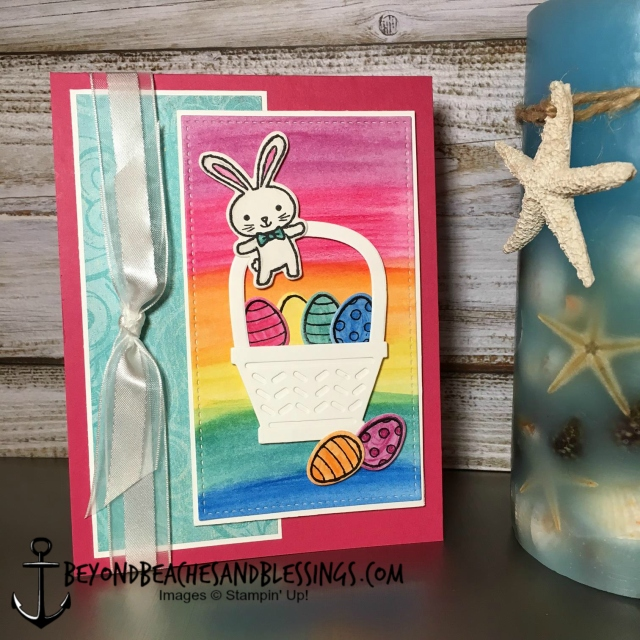 Stampin Up, CAS, Easter Card, Basket Bunch Stamp Set, Basket Builder Framelits Dies, Cupcakes & Carousels Designer Series Paper Stack, Watercolor Pencils, designed by Demo Lynn Tague, See more cards and gifts ideas at BeyondBeachesandBlessings.com #BeyondBeachesandBlessings