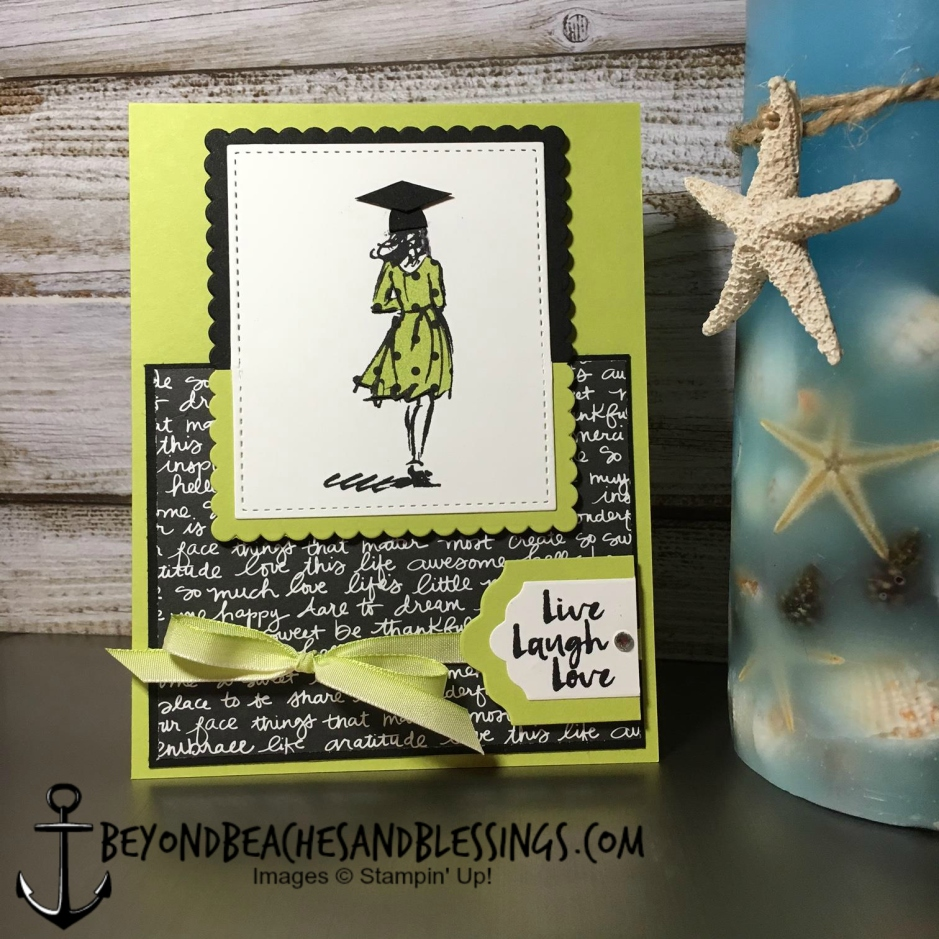 Stampin Up, CAS, Graduation Card, Beautiful You Stamp Set, Designer Series Paper Stack, Lemon Lime Twist Cardstock and Ombre Ribbon, designed by Demo Lynn Tague, See more cards and gifts ideas at BeyondBeachesandBlessings.com #BeyondBeachesandBlessings