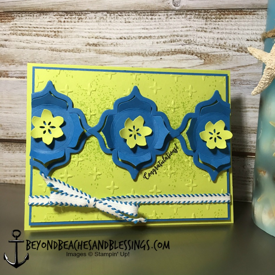 Stampin Up, CAS, Congratulations Card, Colorful Seasons Stamp Set, Lemon Lime Twist, Pacific Point, Eastern Medallions Thinlits, Seasonal Layers Thinlits, Sparkle TIEF, designed by Demo Lynn Tague, See more cards and gifts ideas at BeyondBeachesandBlessings.com #BeyondBeachesandBlessings