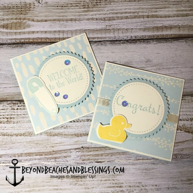 Stampin Up, CAS, Baby Card, Bundle of Love Specialty Designer Series Paper, Starburst Punch, Stitched Shapes Framelits, designed by Demo Lynn Tague, See more cards and gifts ideas at BeyondBeachesandBlessings.com #BeyondBeachesandBlessings