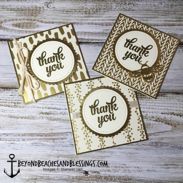 Stampin Up, CAS, Birthday Card, Bundle of Love Specialty Designer Series Paper, Stitched Shapes Framelits, Layering Ovals Framelits, Gold Foil, designed by Demo Lynn Tague, See more cards and gifts ideas at BeyondBeachesandBlessings.com #BeyondBeachesandBlessings